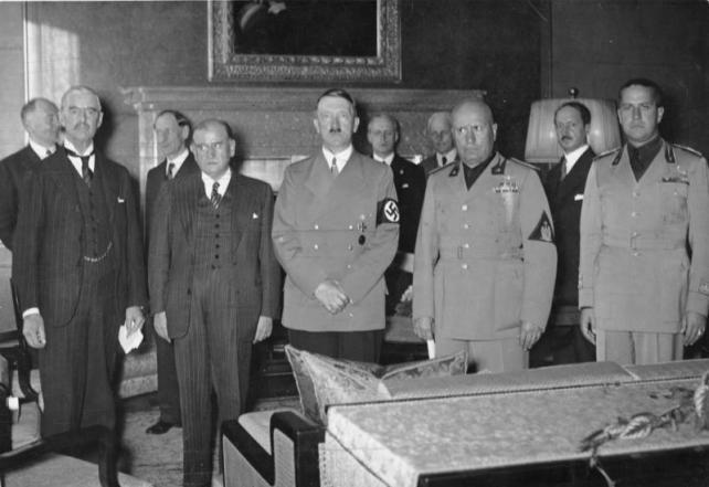 Munich Agreement: Neville Chamberlain, Joachim von Ribbentrop, Edouard Deladier, Adolf Hitler, Benito Mussolini, Galeazzo Ciano