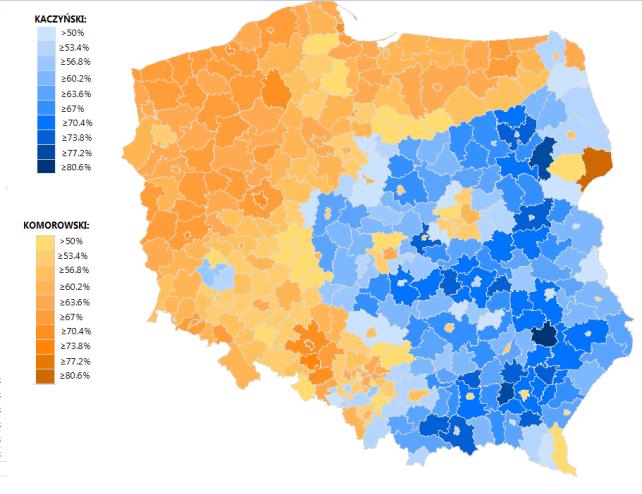 Harta electorala pentru alegerile prezidenţiale din Polonia, 2010. Courtesy of Wikipedia