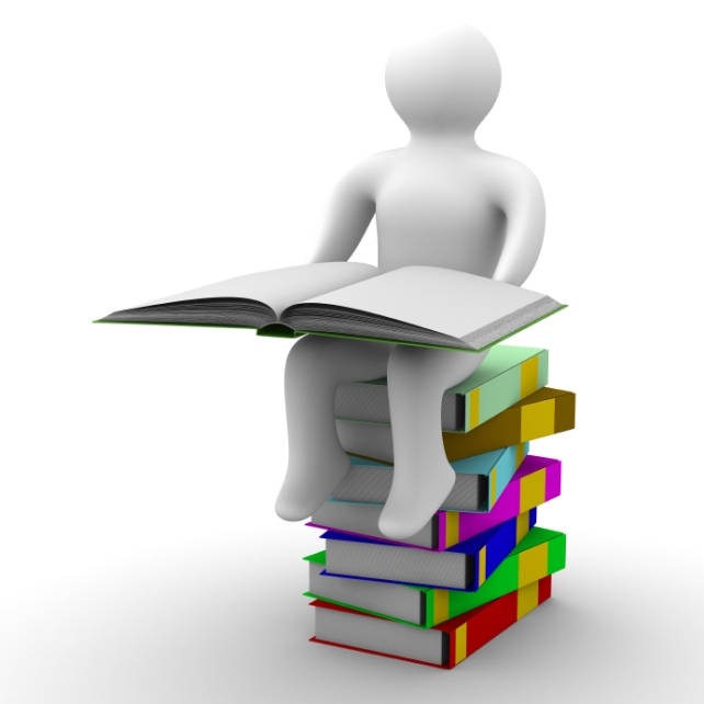 schoolboy with open book on white background. Isolated 3D image